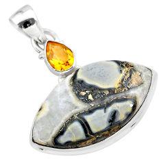 17.55cts natural multi color ocean sea jasper (madagascar) silver pendant t28506