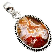 17.12cts natural multi color plume agate 925 sterling silver pendant d42415