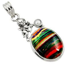 Clearance Sale- 15.55cts natural multi color rainbow calsilica 925 silver angel pendant d44742