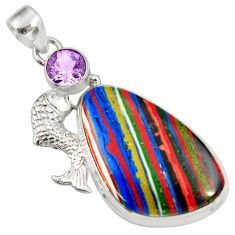 Clearance Sale- 21.72cts natural multi color rainbow calsilica 925 silver fish pendant d39496