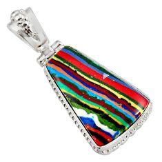 Clearance Sale- 17.57cts natural multi color rainbow calsilica 925 silver pendant d39483