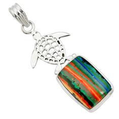 Clearance Sale- 14.23cts natural multi color rainbow calsilica 925 silver turtle pendant d44749