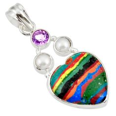 11.73cts natural multi color rainbow calsilica amethyst silver pendant d39481