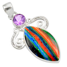 Clearance Sale- 15.05cts natural multi color rainbow calsilica amethyst silver pendant d39491