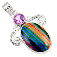 Clearance Sale- 16.18cts natural multi color rainbow calsilica amethyst silver pendant d39495