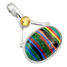 Clearance Sale- 14.68cts natural multi color rainbow calsilica citrine 925 silver pendant d44745