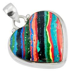18.15cts natural multi color rainbow calsilica heart 925 silver pendant r51165