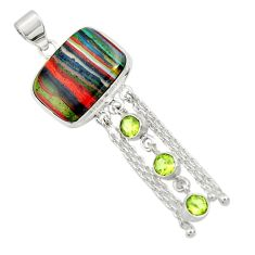 Clearance Sale- 19.27cts natural multi color rainbow calsilica peridot 925 silver pendant d44757