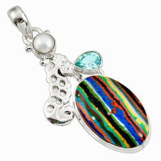 Clearance Sale- 17.95cts natural multi color rainbow calsilica silver seahorse pendant d39485