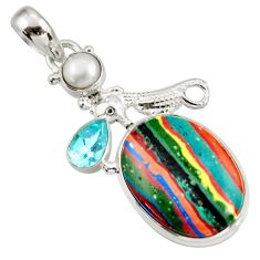 Clearance Sale- 16.06cts natural multi color rainbow calsilica silver seahorse pendant d39486