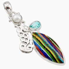 Clearance Sale- 16.85cts natural multi color rainbow calsilica silver seahorse pendant d42301