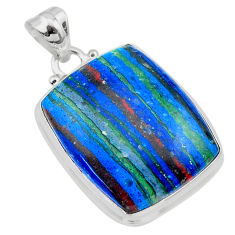 19.23cts natural multi color rainbow calsilica sterling silver pendant t26466