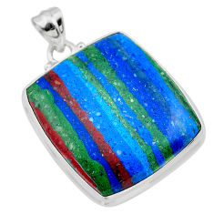 25.28cts natural multi color rainbow calsilica sterling silver pendant t26468