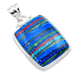 16.07cts natural multi color rainbow calsilica sterling silver pendant t26469