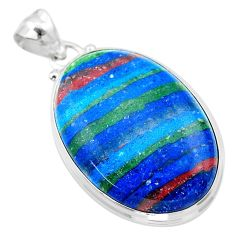 20.96cts natural multi color rainbow calsilica sterling silver pendant t26480