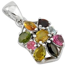 5.13cts natural multicolor sapphire 925 sterling silver pendant jewelry c18234