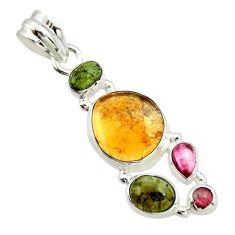 11.63cts natural multi color tourmaline 925 sterling silver pendant r20376