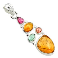 11.71cts natural multi color tourmaline 925 sterling silver pendant r20377
