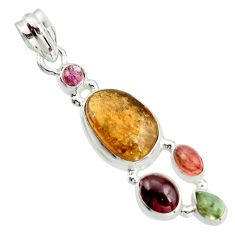 11.93cts natural multi color tourmaline 925 sterling silver pendant r20379