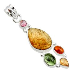 12.34cts natural multi color tourmaline fancy 925 sterling silver pendant r20375