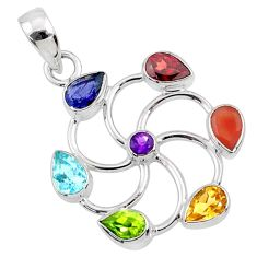6.39cts natural multi gem circle of life 925 silver chakra pendant r65362