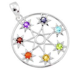 2.61cts natural multi gemstone inanna star 925 silver chakra pendant r65210