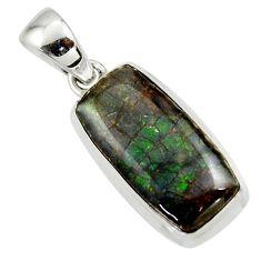 11.66cts natural multicolor ammolite (canadian) 925 silver pendant r44556