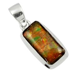 10.72cts natural multicolor ammolite (canadian) 925 silver pendant r44558