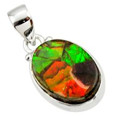 11.17cts natural multicolor ammolite triplets 925 sterling silver pendant r33680