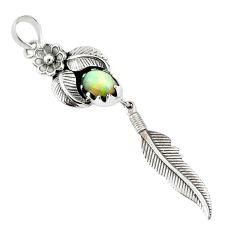2.10cts natural multicolor ethiopian opal 925 silver dreamcatcher pendant r67936
