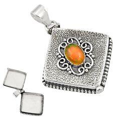 2.82cts natural multicolor ethiopian opal 925 silver poison box pendant r30638