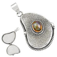 2.38cts natural multicolor ethiopian opal 925 silver poison box pendant r30659