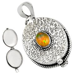 2.10cts natural multicolor ethiopian opal 925 silver poison box pendant r30668