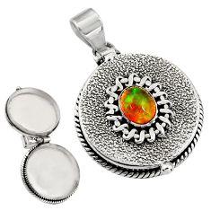 2.18cts natural multicolor ethiopian opal 925 silver poison box pendant r30673