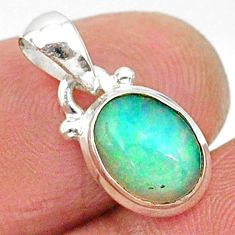 2.90cts natural multicolor ethiopian opal 925 sterling silver pendant r89041
