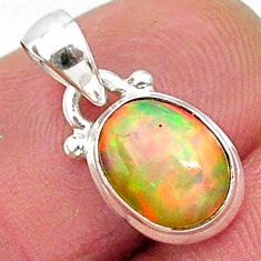 2.91cts natural multicolor ethiopian opal 925 sterling silver pendant r89044