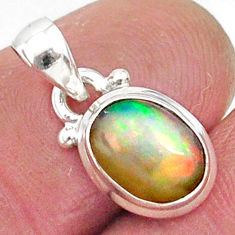 2.85cts natural multicolor ethiopian opal 925 sterling silver pendant r89060