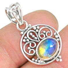 2.74cts natural multicolor ethiopian opal 925 sterling silver pendant r90062