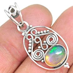 2.85cts natural multicolor ethiopian opal 925 sterling silver pendant r90069