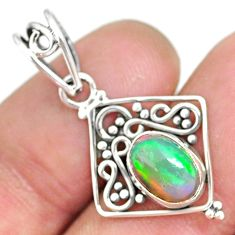 2.94cts natural multicolor ethiopian opal 925 sterling silver pendant r90078