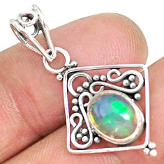2.74cts natural multicolor ethiopian opal 925 sterling silver pendant r90082