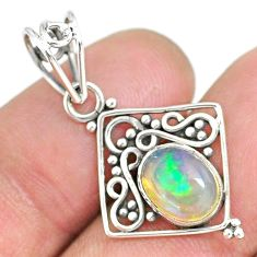 2.84cts natural multicolor ethiopian opal 925 sterling silver pendant r90085