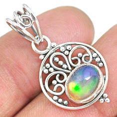 2.80cts natural multicolor ethiopian opal 925 sterling silver pendant r90089
