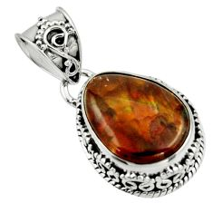 7.36cts natural multicolor mexican fire agate 925 sterling silver pendant r44458
