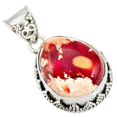 14.88cts natural multicolor mexican fire opal 925 sterling silver pendant r20854