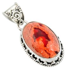 12.36cts natural multicolor mexican fire opal 925 sterling silver pendant r20858