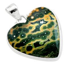 22.59cts heart multicolor ocean sea jasper (madagascar) silver pendant t22972