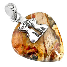 26.30cts natural multicolor plum wood jasper 925 silver two cats pendant r91291