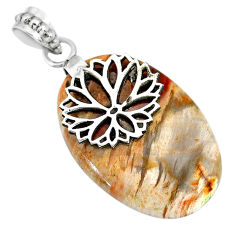 24.99cts natural multicolor plum wood jasper 925 sterling silver pendant r91293