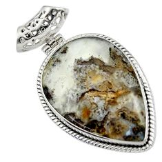 26.62cts natural multicolor plume agate 925 sterling silver pendant r44629